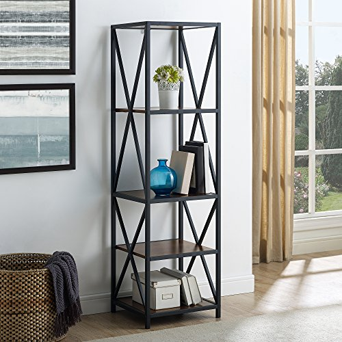 WE Furniture AZST18XMWDW Mixed Material Bookshelf, Dark ()