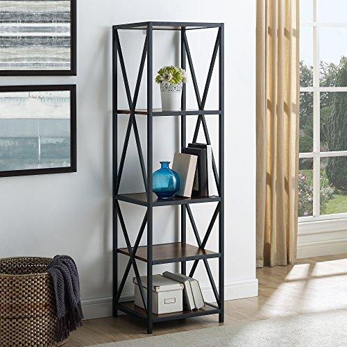 WE Furniture AZST18XMWDW Mixed Material Bookshelf, Dark Walnut Review