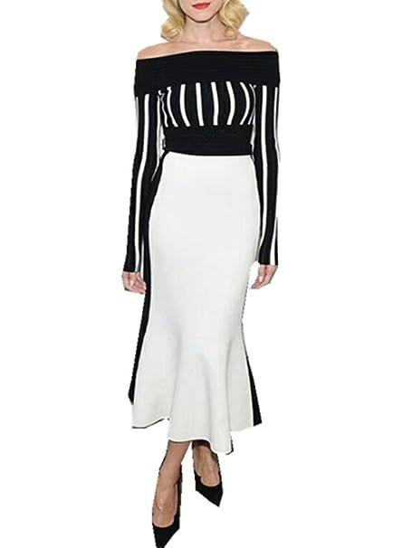 K Bar Vestido Ajustado Para Mujer Negro Blanco Del Hombro Noche Fiesta Formal Largo Vestidos X