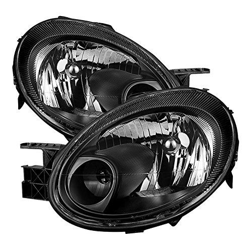 Jdragon for Dodge 2003-2005 Neon Black Housing Replacment Headlights Pair SE SRT SXT -
