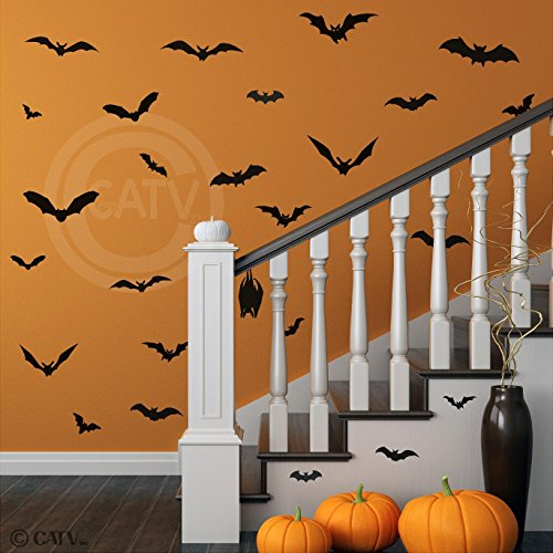 Halloween Bats set of 28 vinyl lettering decal home decor wall art (Halloween Vinyl Lettering)