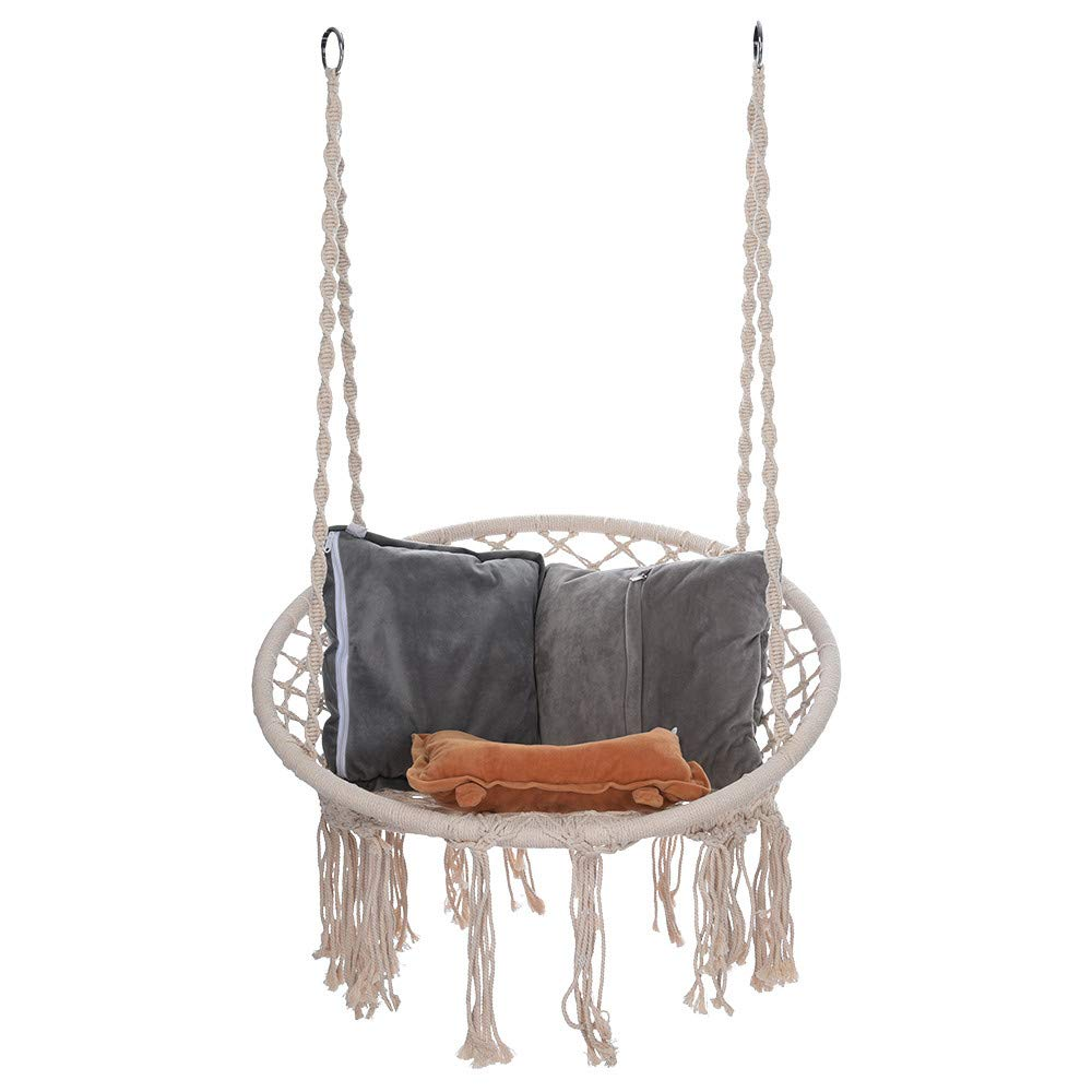 Hammock Chair - Macrame Swing 330 Pound Capacity Handmade Hanging Swing Chair Prefect for Indoor/Outdoor Home Patio Deck Yard Garden Reading Leisure (White) by Hunzed Home & Kitchen (Image #7)