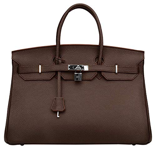 Women's Handbags Ladies Genuine Leather Handle Shoulder Handbags Strap Organizer Crossbody Handbags with Gold Hardware ()