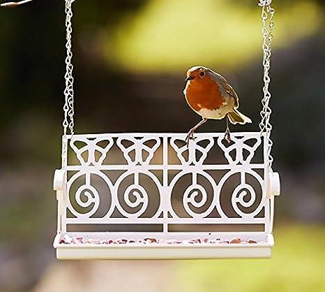 Garden Mile Blanco Francés Shabby Chic Banco Jardín Asiento de Columbio Comedero para pájaros decoración MESA Pájaro Semilla Tuerca Sebo Nutrientes Trampa Adornos Rústico Colgante Liberador: Amazon.es: Jardín