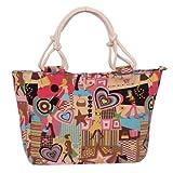 EcoCity Womens Canvas Handbag Purse Beach Tote Bags Shopping Satchel Bag HB0098P1 (Cartoon-Lovely girl)