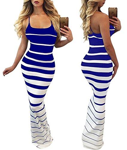 Print Sleeve Gold Scoop Mojessy Chain Long Sexy Maxi Dresses Women's Blue 1 Long Neck nCwXEX8Yq