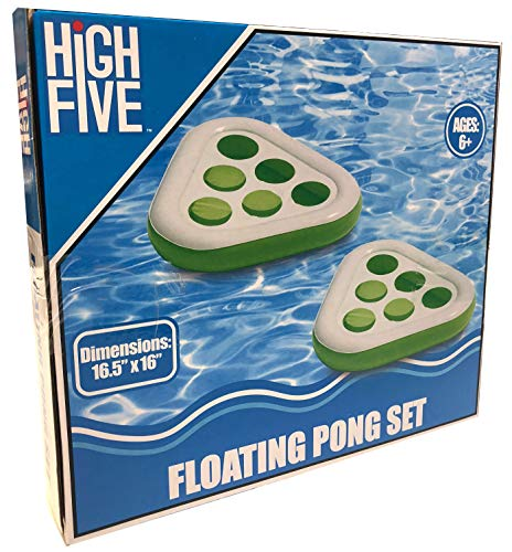 High Five 2pk Beer Pong Pool Beach Inflatable Float Drink Game (Green)