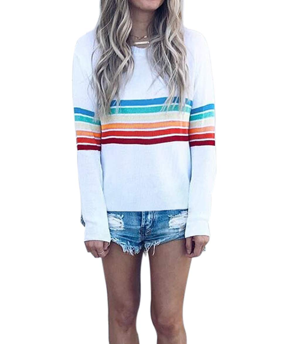 ASSKDAN Women's Sweatshirt Long Sleeve Rainbow Color Round Neck Pullover Loose Tops Blouse Shirts