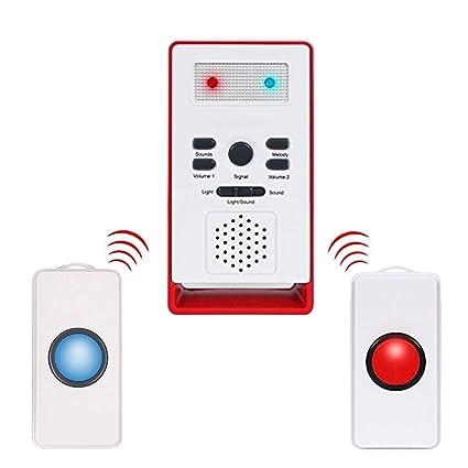 Cuidador personal inteligente inalámbrico, sistema de emergencia con botón de llamada de alarma para personas mayores (2 en 1)