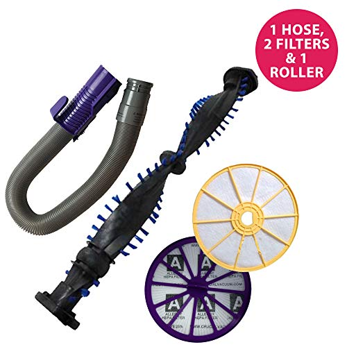 Think Crucial Replacement for Dyson DC07 Pre & Post Filters, Purple Hose & Clutch Roller, Compatible with Part # 904125, 904174-01, 901420-02 & 904979-02