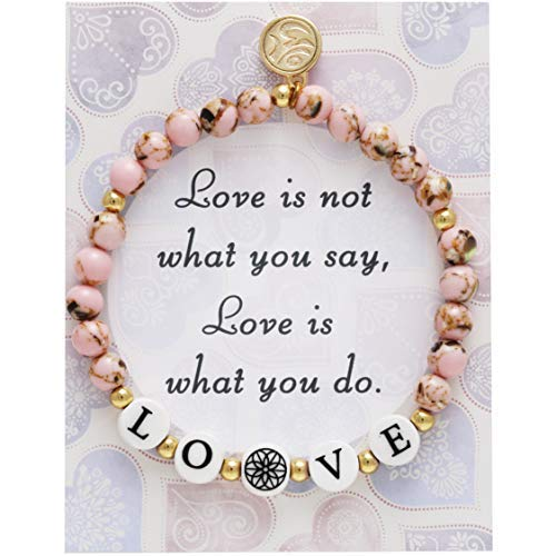 BONALUNA My Wish Love Mantra 6mm Pink Color Stone Meditation & Healing  Bracelets for Women