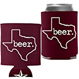 Insulated Can Beverage Cooler Accessories - TEXAS BEER - Maroon