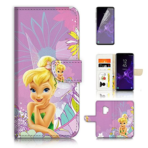 ( For Samsung Galaxy S9 ) Flip Wallet Case Cover & Screen Protector Bundle - A8462 Tinkerbell (Tinkerbell Cell Phone Covers)