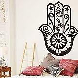 Yanqiao Removable Wall Decal Vinyl Sticker Indian Yoga Lucky Hand Fatima Sticker Home Decor Art Bedroom Design Interior Mural
