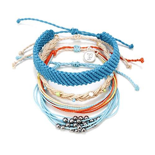 (MISSYO 4 PCS Handmade Rope Bracelets for Women Waterproof Wax Coated Braided Wrap Cuff Bangle Bracelet Blue Boho Jewelry Gift)