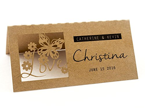 Summer-Ray 24pcs Laser Personalized Love is in the Air Brown Kraft Wedding Place Cards by Summer-Ray.com