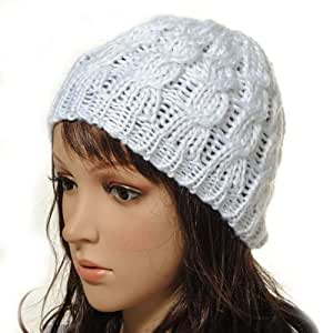 Women Lady Winter Warm Knitted Crochet Slouch Baggy Beret Beanie Hat Cap,One Size,White