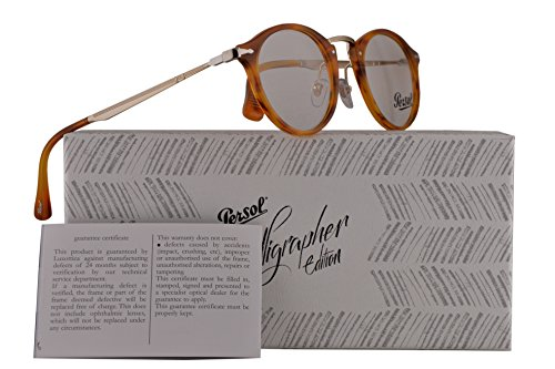 Persol PO3167V Calligrapher Edition Eyeglasses 49-22-145 Striped Brown w/Demo Clear Lens 960 PO 3167-V PO3167-V PO - Persol Handmade Sunglasses