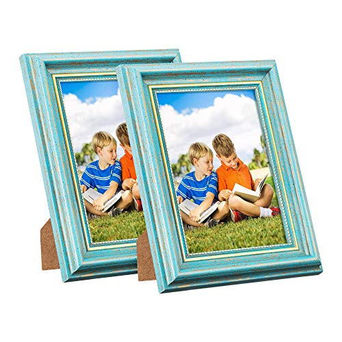 Wall Mountable Horizontal Vertical Acrylic - Photo Frame 4x6 Vintage Portrait Picture Frames Retro Landscape & Horizontal Poster Frame Standing or Wall Mountable, Birthday Gift for Parents Woman Wedding Anniversary 6x4 Inch Teal