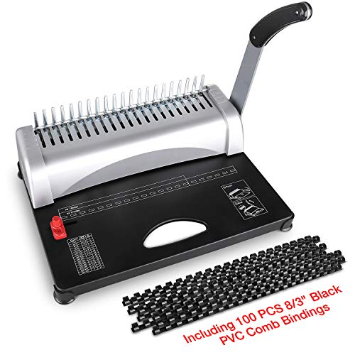 MAKEASY Binding Machine, 21-Hole, 450 Sheet, Paper Punch Binder with Starter Kit 100 PCS 3/8'' PVC Comb Bindings, Comb Binding Machine Scrapbook