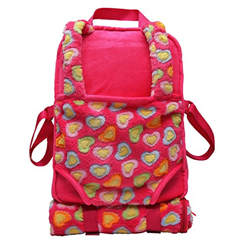 262ea5d3853c The Queen s Treasures Pink Soft Plush Child Size Backpack with Built-in Doll  Carrier and