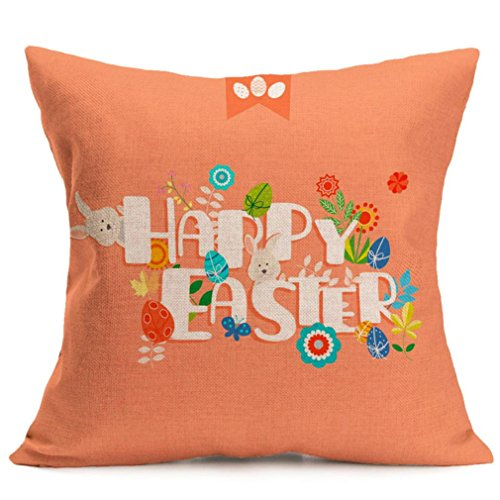 2017 Easter's Day Pillow Case,Elevin(TM)New Painting Square Cotton Cushion Cover Throw Waist Pillow Case Sofa Bedroom Home Decor Good Easter's Gift (M) (Q)