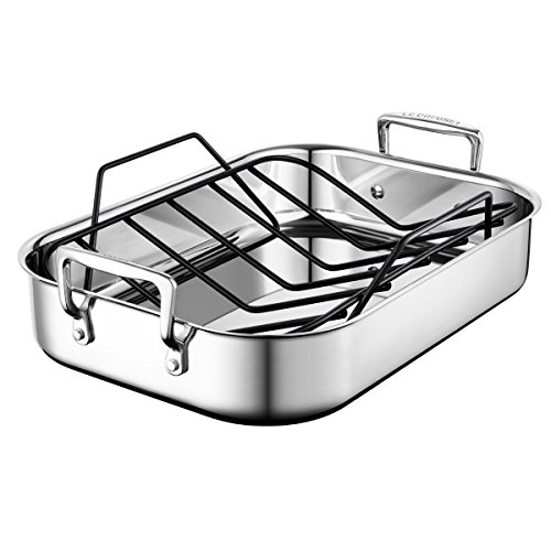 Le Creuset SSC8611-35P Stainless Steel Small Roasting Pan With Nonstick Rack 14