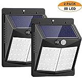 Luces Solares, ANNA TOSANI 2 Paquetes Luz Solar 50 LED Lámpara Solar Exterior IP65 Impermeable Solar Luz LED Iluminación Exterior con Sensor de Movimiento para Jardín, Patio, Terraza, Inicio, Camino, Escalera Exterior