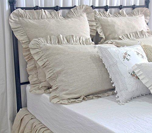 (French Linen Pillow Shams Standard King Queen Size Pillow Covers Ruffle Pillowcases Shams Set of 2)