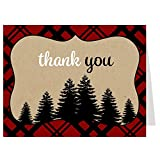 Thank You Cards, Lumberjack Baby Shower, Trees Thank You Card, Tan, Red, White, Black, Paid, Rustic, Woodland, Tree, Set of 50 Folding Notes with White Envelopes