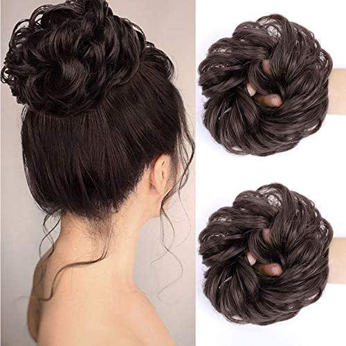 MORICA Messy Bun Hair Scrunchies 2PCS Messy Bun Hair Piece for Women Curly Wavy Scrunchy Updo Bun Extensions(Color:6#)