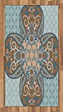 Lunarable Arabian Area Rug, Arabian Style Geometric Pattern Persian Art Elements and Baroque Touch Artwork, Flat Woven Accent Rug for Living Room Bedroom Dining Room, 4 x 6 FT, Brown Teal