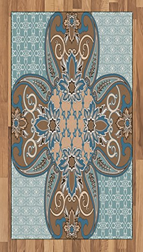Lunarable Arabian Area Rug, Arabian Style Geometric Pattern Persian Art Elements and Baroque Touch Artwork, Flat Woven Accent Rug for Living Room Bedroom Dining Room, 4 x 6 FT, Brown Teal by Lunarable