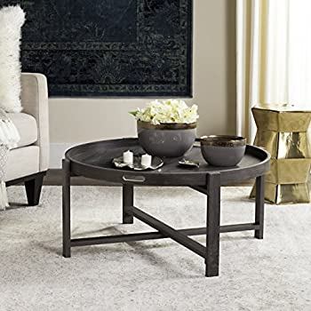Remarkable Safavieh Home Collection Cursten Retro Wood Tray Top Coffee Table Dark Grey Machost Co Dining Chair Design Ideas Machostcouk