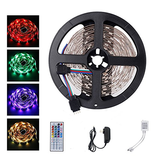 LED Strip Lights Kit, ALED LIGHT LED Flexible Light Strip 16.4Ft/5M 5050 150LEDs Non-Waterproof RGB Strip Lighting with Remote DC 12V Power Supply for DIY/Christmas/Party/Decoration (1 Pack) -  1US-5050-BFS-150D-RGB-5M-2A-FBA