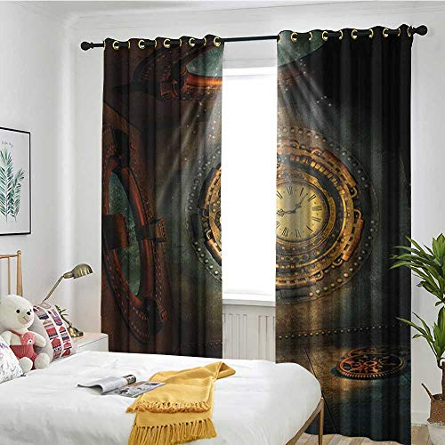 (Restaurant Curtain The Curtains in The Bedroom are Darkened Fantasy,Fantasy Scenery with Clock Dream Sky Rays from The Ceiling Fictional Artwork Brown and Teal)
