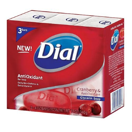 Dial Glycerin Bar Soap, Cranberry & Anti-Oxident 3 ea (9 pack)