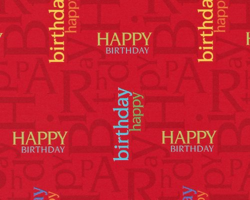 American Greetings Birthday Wrapping Paper, Red Happy Birthd
