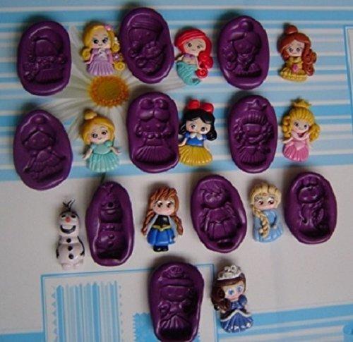 Lote de 10 Moldes de Silicona Princesas Ariel, Rapunzel, Blanca Nieves, Bella,