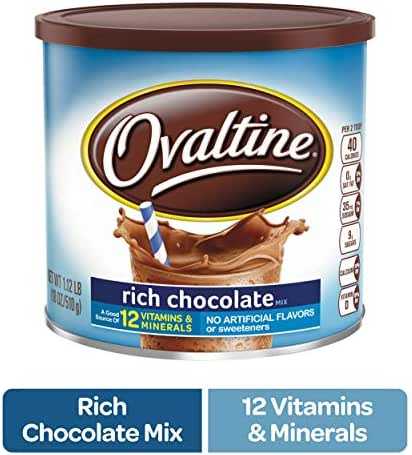 NESTLE OVALTINE Chocolate Rich Chocolate Mix, 18 oz. Canister | Easy to Prepare Fortified Malt Beverage