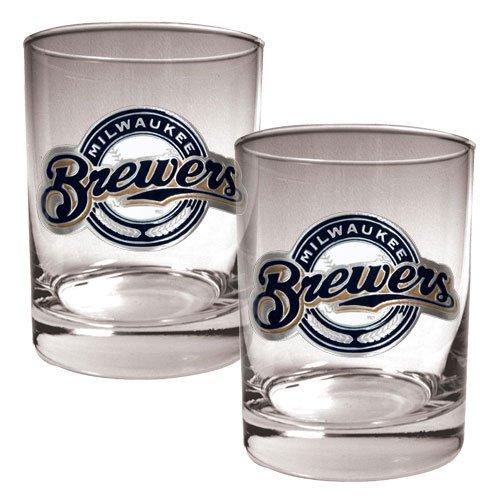 MLB Milwaukee Brewers Two Piece Rocks Glass Set - Primary Logo (Milwaukee Rock Brewers)