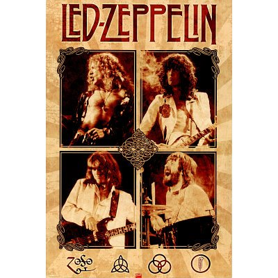 (24x36) Led Zeppelin (Group, Parchment) Music Poster Print (Led Poster Zeppelin Music)
