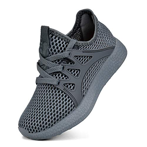 Sunnycree Kids Boys Outdoor Breathable Ultra Lightweight Walking Running Tennis Boys Shoes Size 4.5 Gray