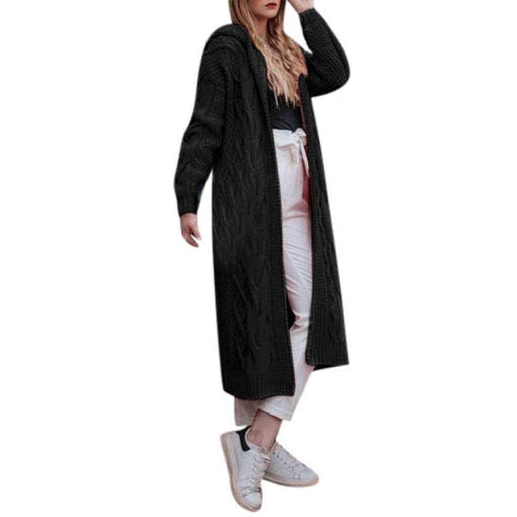Spring Color  Womens Casual Solid Long Sleeve Open Front Hoodie Cardigan Knit Long Cardigan Kimono Sweaters Coat Black by 🍒 Spring Color 🍒