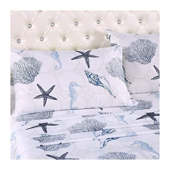 "ARTALL Brushed Microfiber Bed Sheet Set 4-Piece 1800 Bedding Seashell Starfish Pattern, Blue, Queen Size - [SUPER SOFT FABRIC]: our sheet set is made with Premium Brushed Microfiber. Fade, wrinkle and shrink resistant. Made of premium microfiber that makes the fabric more durable than cotton. It provides you a unique soft, comfortable, luxurious feel that make you fall asleep fast and sleep better. [MEASUREMENTS]: Queen: Flat sheet 90""x102""; Fitted sheet 60x80+14""; Pillowcases 2x20""x30"" [UNIQUE DESIGN]: ARTALL Printed Sheet Set features attractive gorgeous sea life pattern. The duvet cover with vibrant colors looks elegant and it adds romantic atmosphere to your room. - sheet-sets, bedroom-sheets-comforters, bedroom - 51FDm9h2usL. SS570  -"