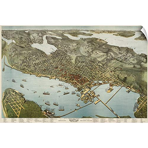 """CANVAS ON DEMAND Vintage Birds Eye View Map of Seattle and Environs Wall Peel Art Print, 60""""x40"""""""