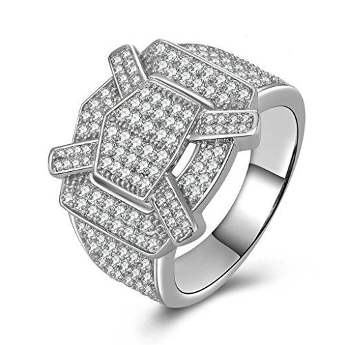 [Epinki Women Rings, 925 Sterling Silver Ring Proposal Ring Geometric Cubic Zirconia Size 10.5] (Diy Half Man Half Woman Costume)