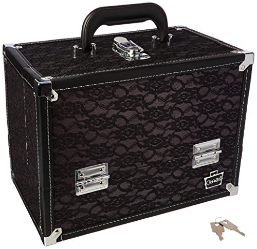 Caboodles Stylist Train Case, Black Lace Over Silver