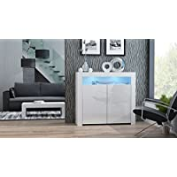 Concept Muebles MILANO Sideboard 2D – Two High Gloss finish doors and one upper shelf with modern LED illumination (White & White)