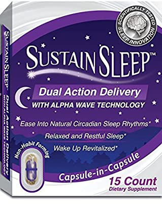 Sleep Aid :: Dual Release Melatonin :: Fast Dissolve Sleeping Capsules with Advanced Alpha Wave Technology for Faster, Deeper Sleep :: Natural, Made in America, 15 Caps, by Sustain Sleep